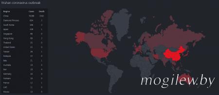 Карта распространения короновируса на 22.02.2020