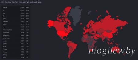 Карта распространения короновируса на 29.03.2020